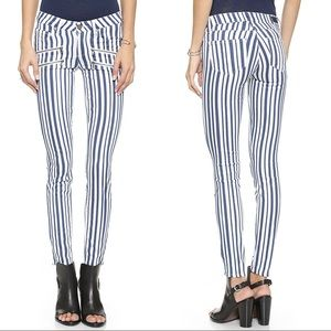 Paige Edgemont Blue Striped Cyprus Skinny Jeans